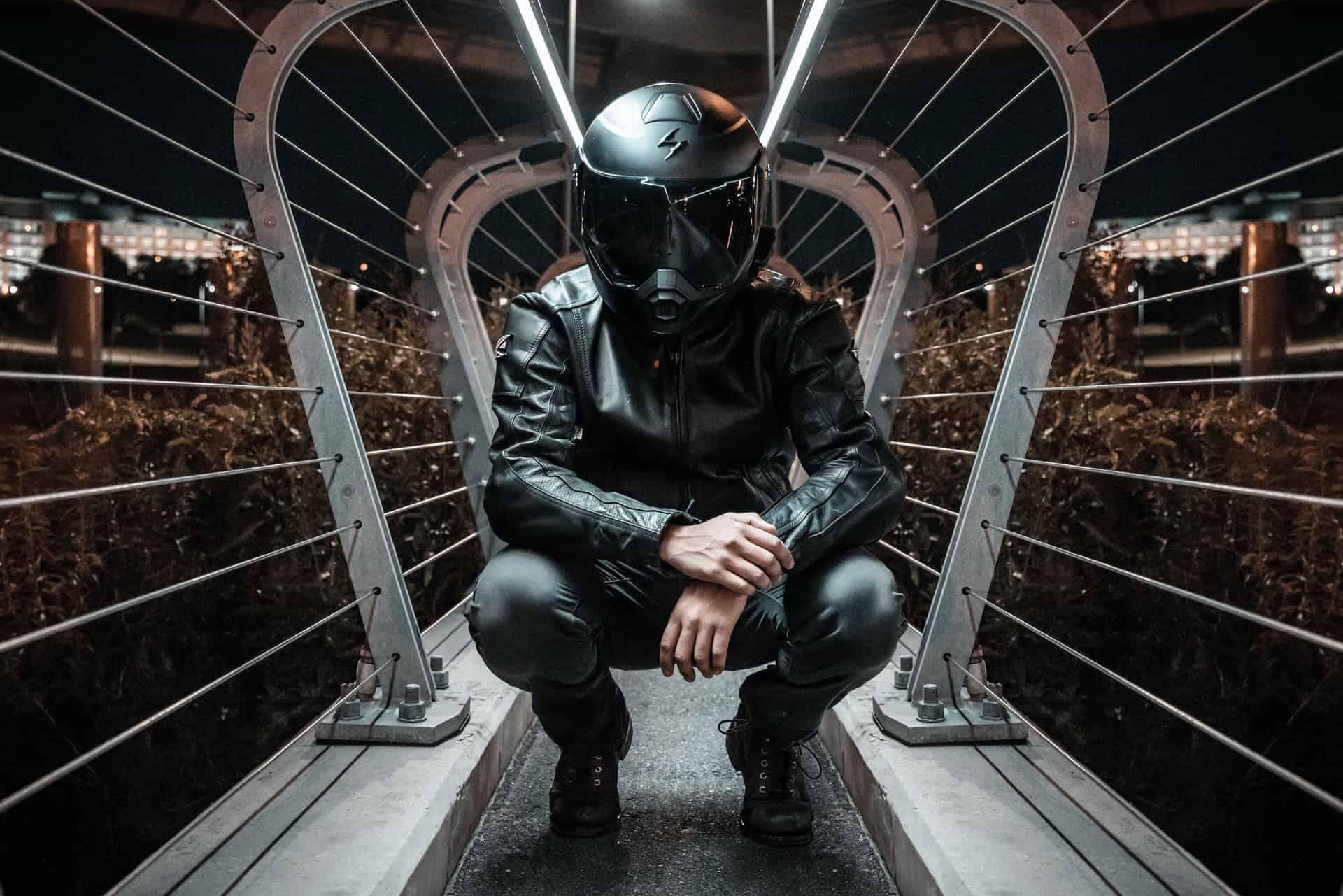 black modular helmet