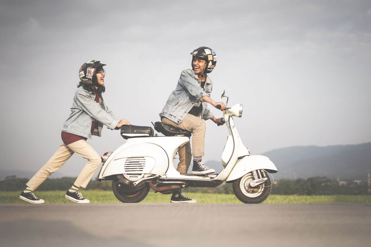 couple helmets scooter