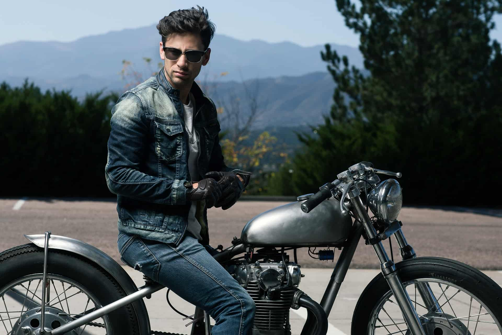 man jacket motorcycle gloves