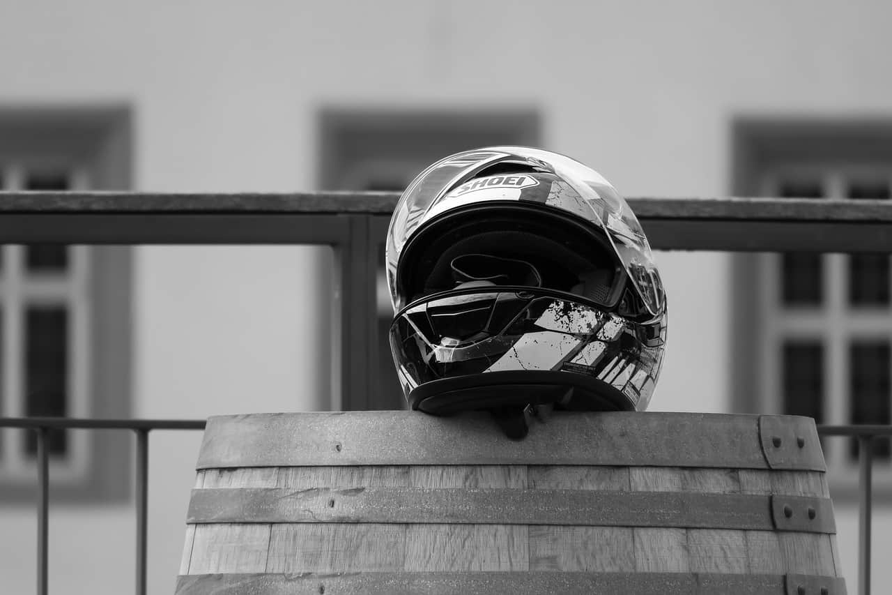 monochrome helmet on barrel