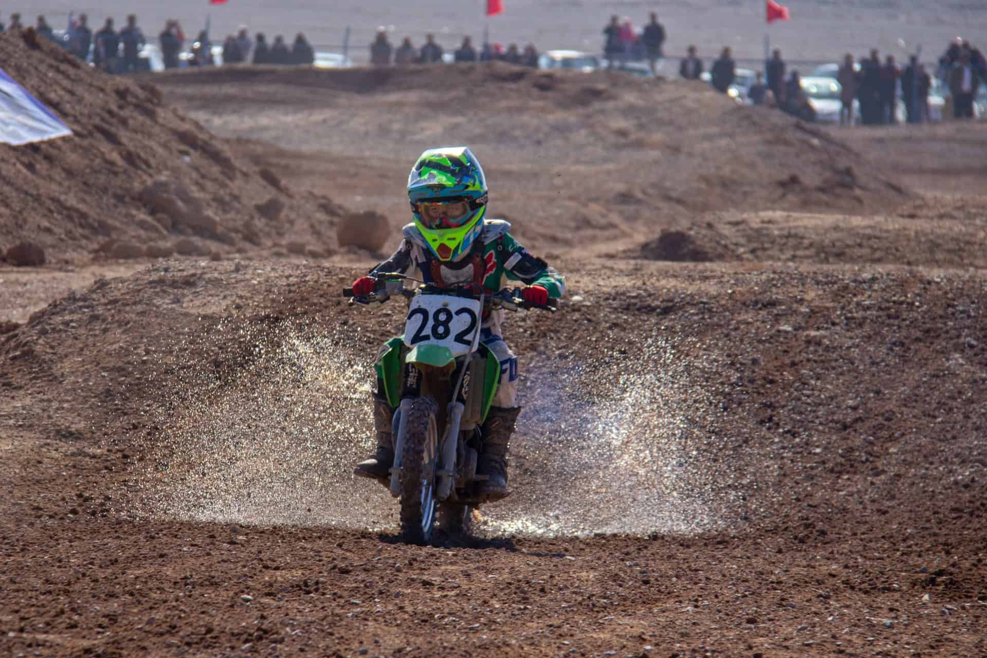 motorcycle kid helmet green