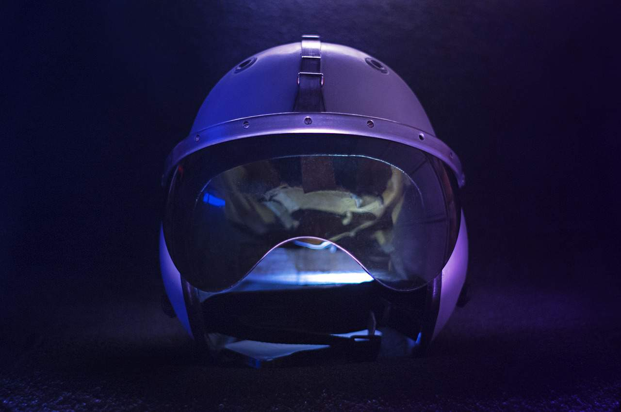 purple light motorcycle helmet