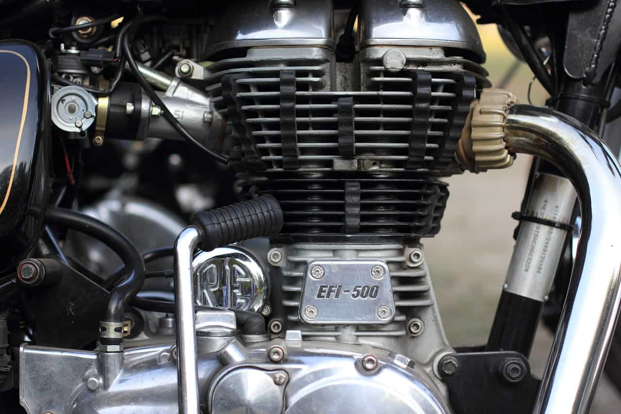 close up motorcycle alternator engine