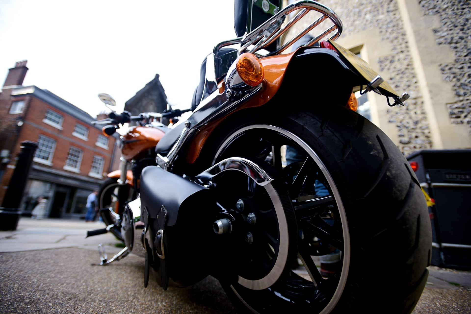 motorcycle wheel low angle