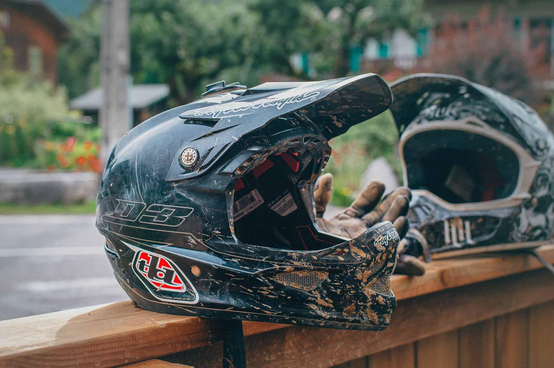 dirty helmet motorcycle