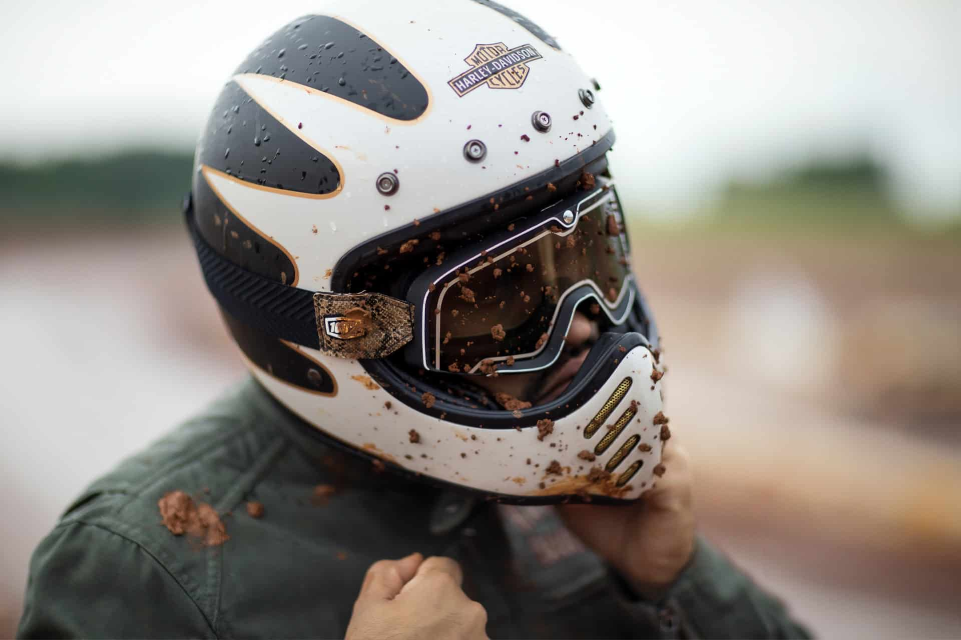 dirty helmet motorcycle