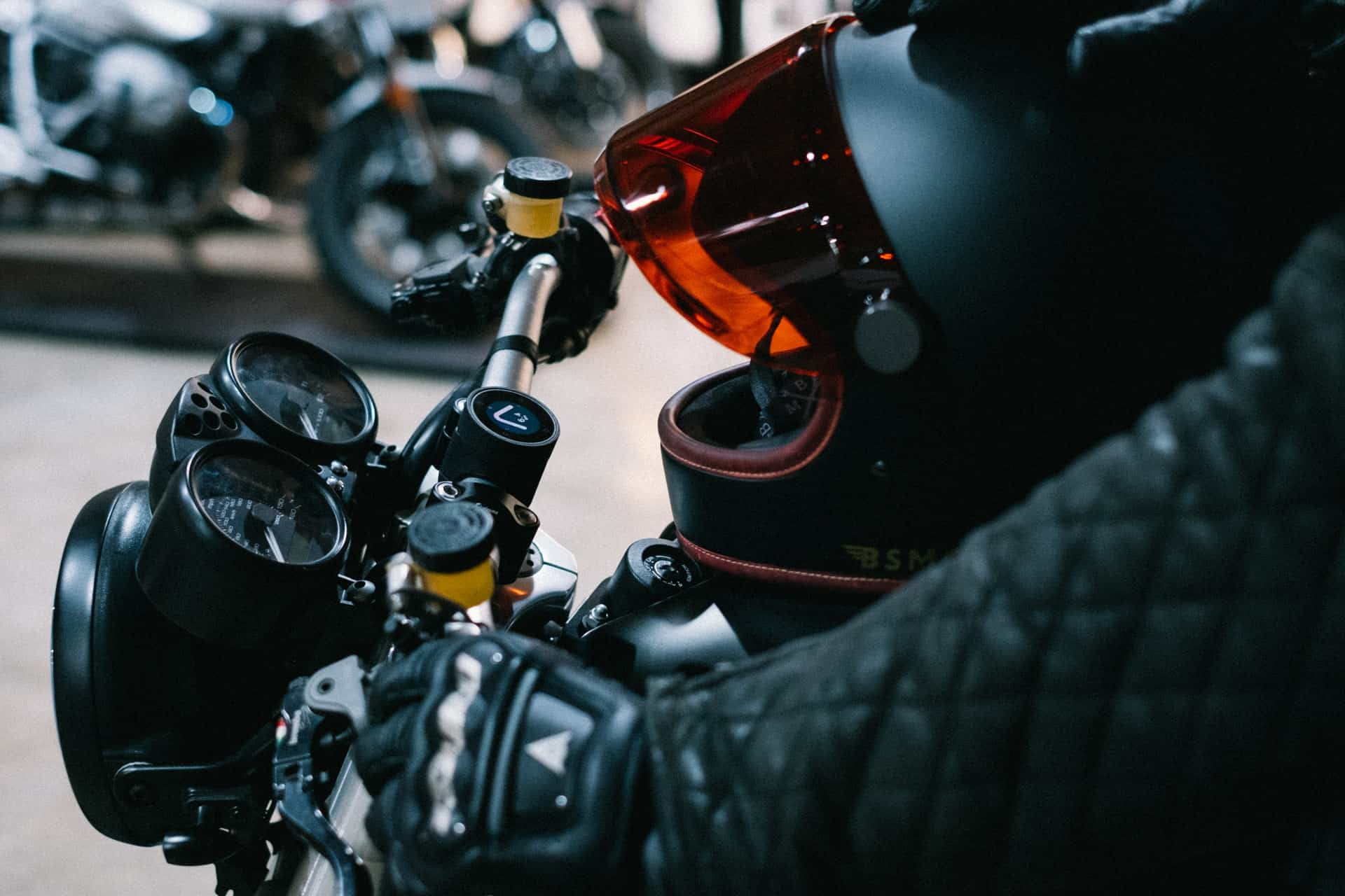 gloves black biker