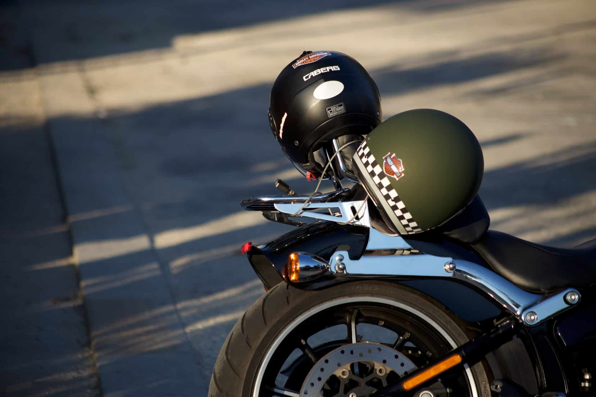 helmets on motorcycle