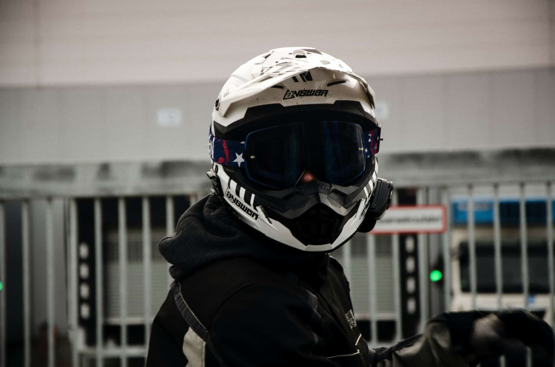 man wearing white helmet