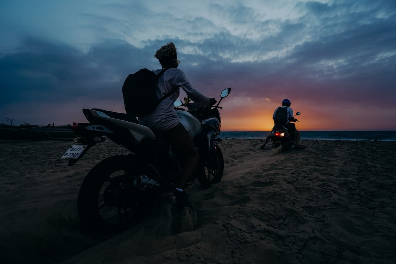 men sunset motorcycle