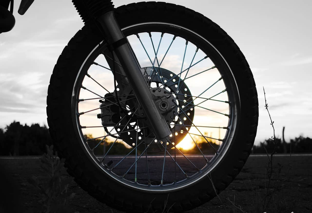 tire motorcycle sunset