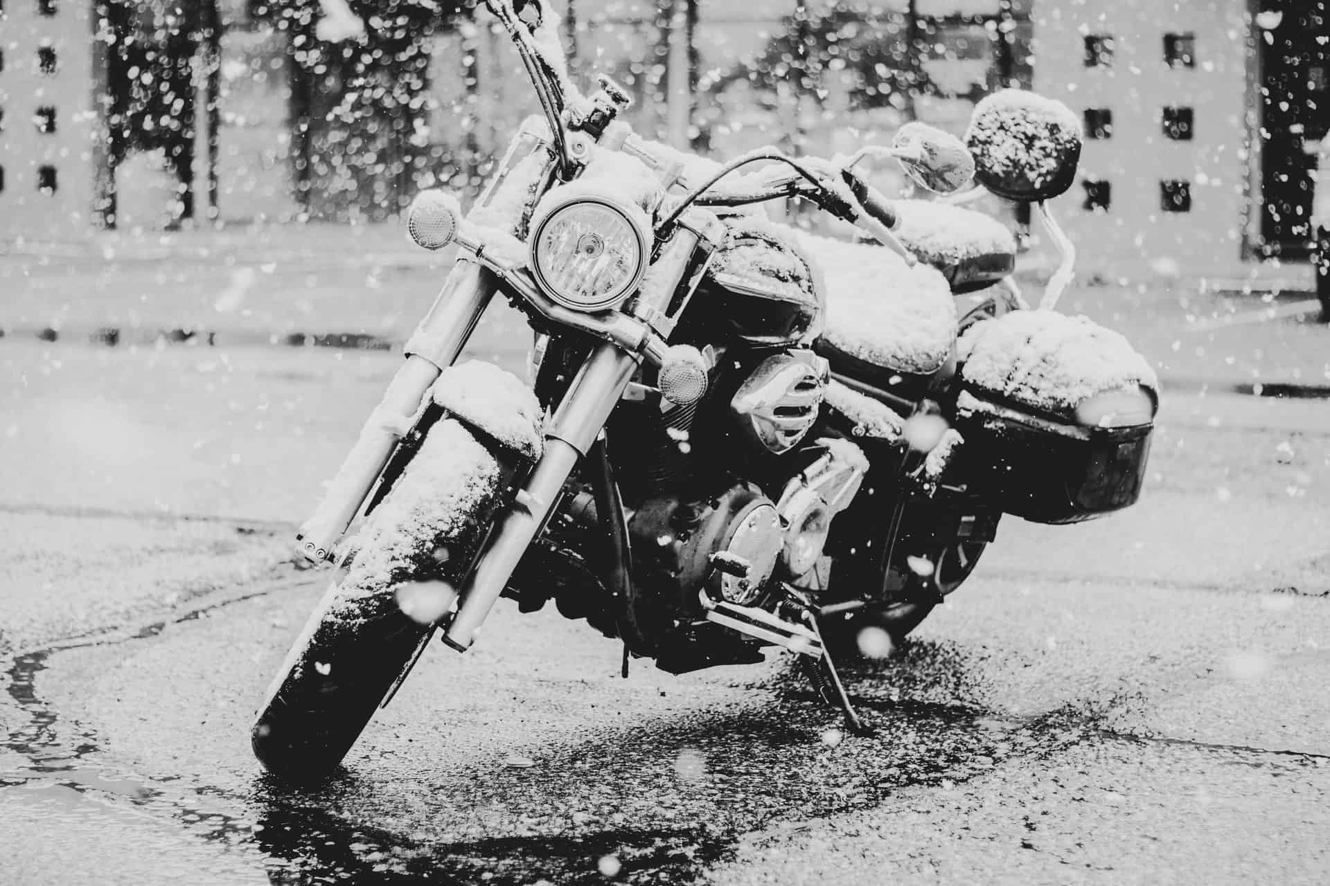 winter motorcycle wet