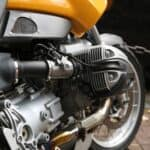 yellow metal engine- motorcycle