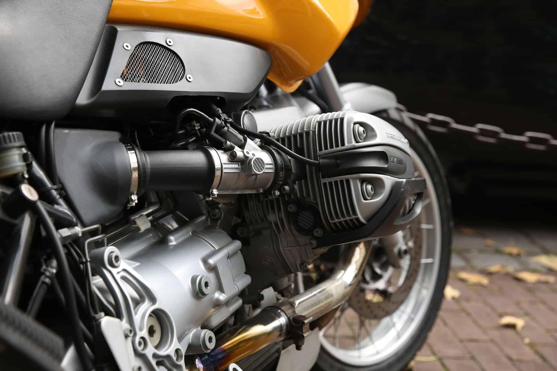 yellow metal engine- motorcycle