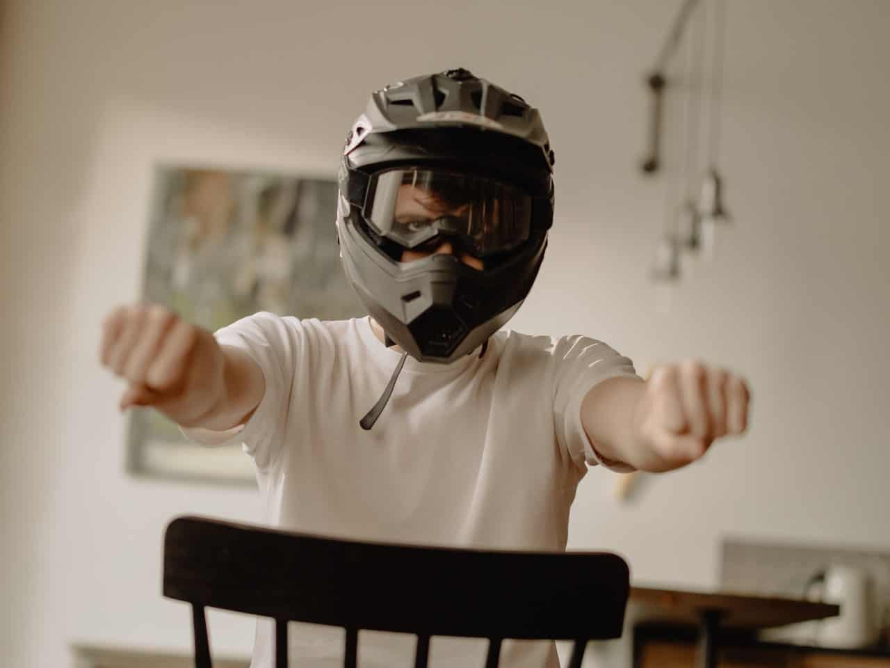 helmet man practicing