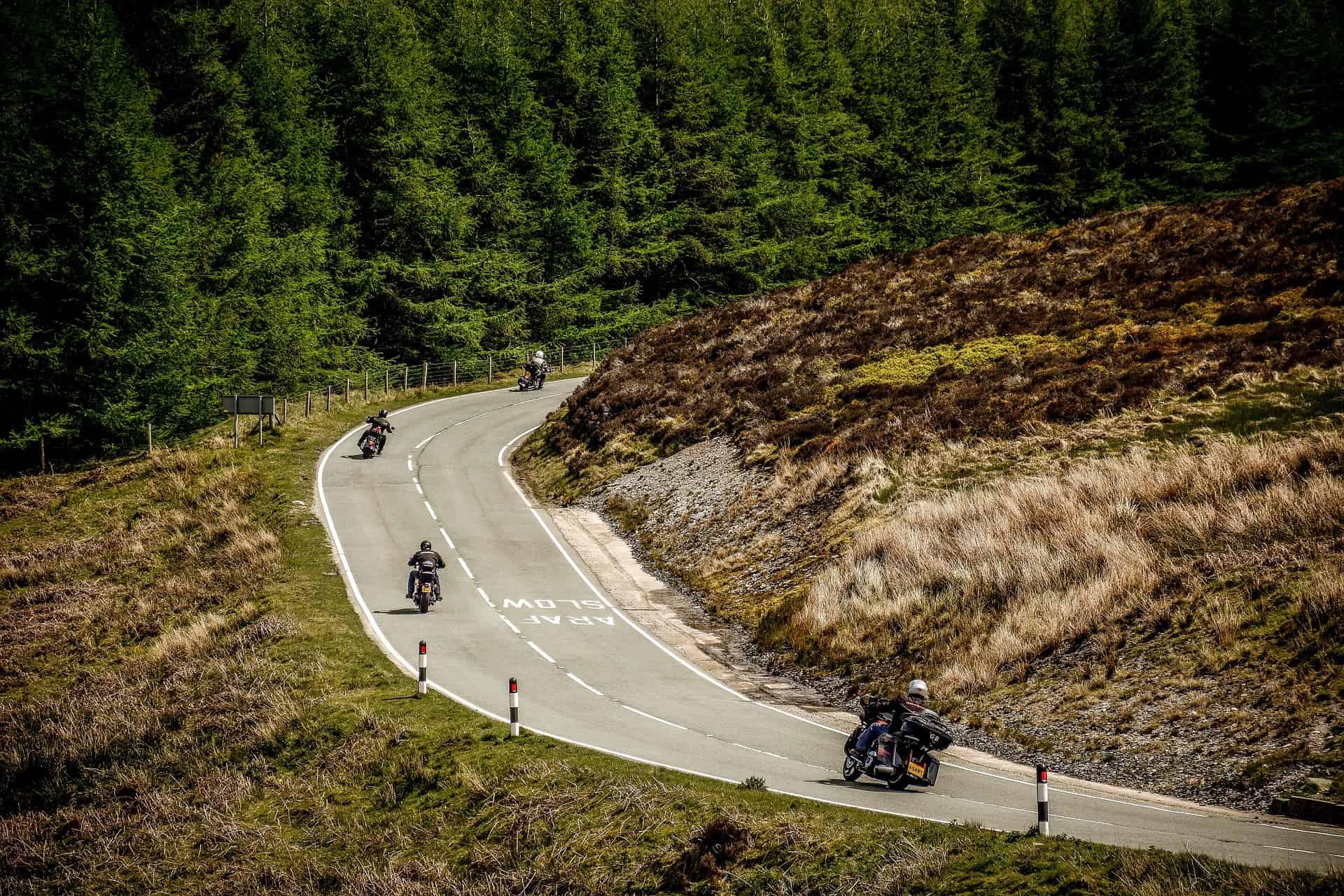 roadway bikers turning
