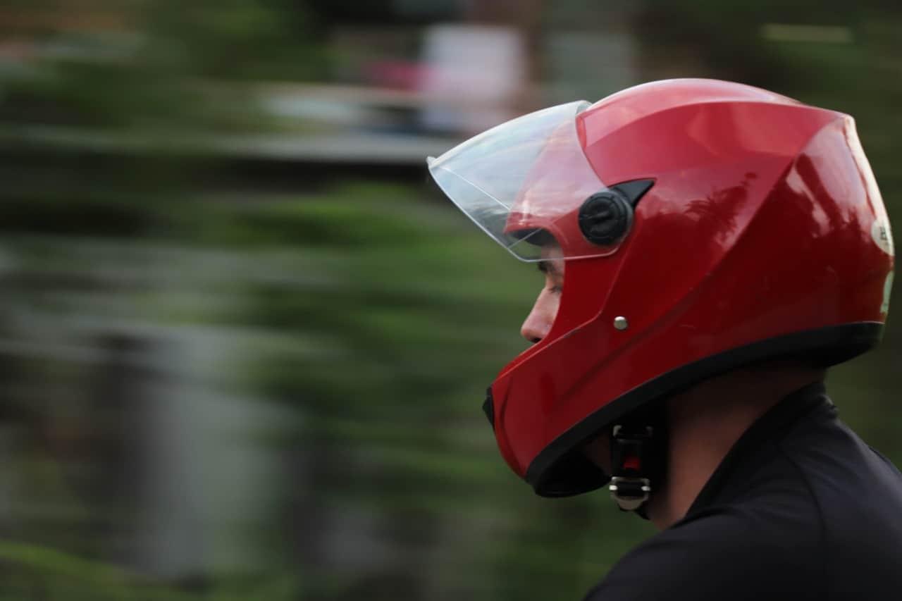 red helmet motorcycle