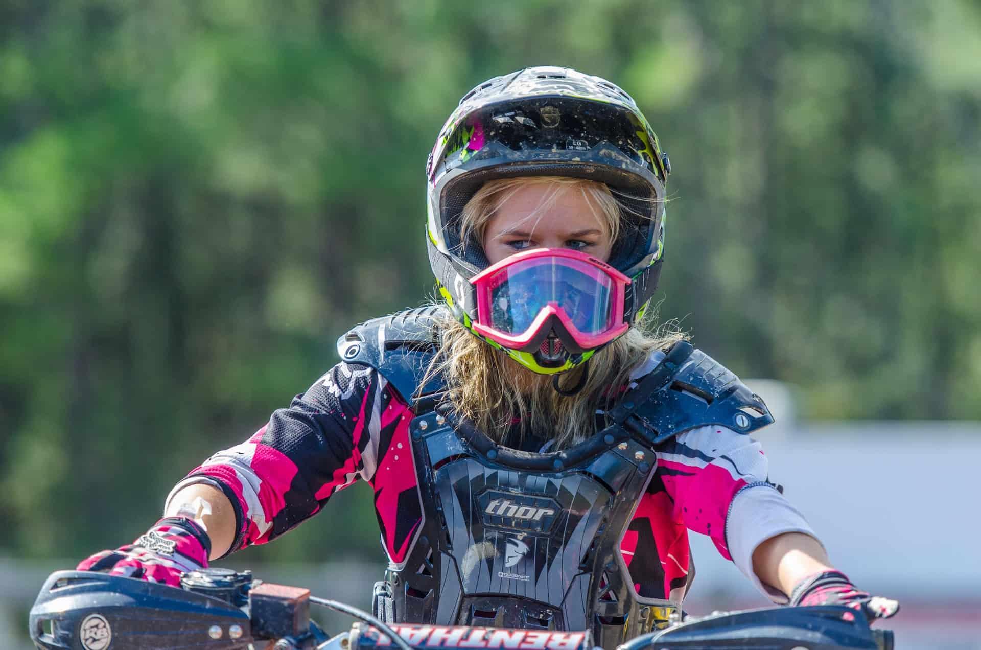 woman eyeshield helmet