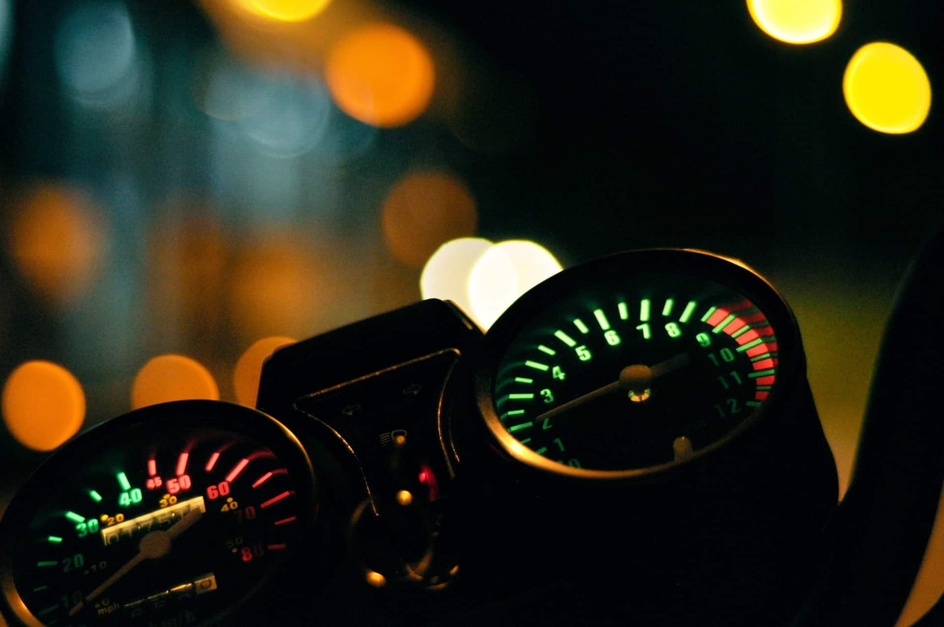 bokeh dark motorcycle gauge