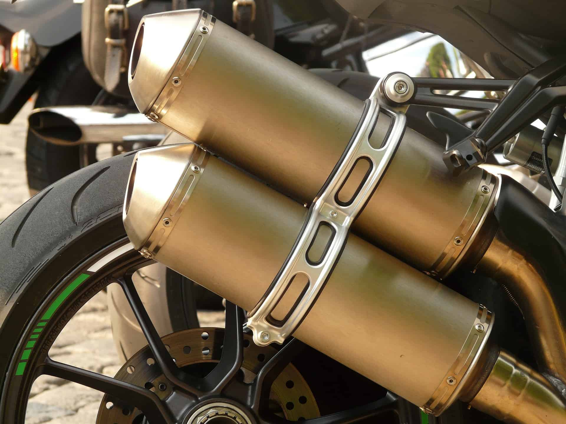 gold motorcycle exhaust